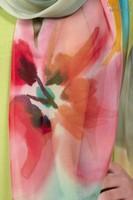 Палантин из натурального шелка «Альпийский луг» (батик, ручная роспись)
