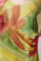 Палантин из натурального шелка «Пурпурный всплеск» (батик, ручная роспись)