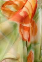 Палантин из натурального шелка «Оранжевое лето» (батик, ручная роспись)