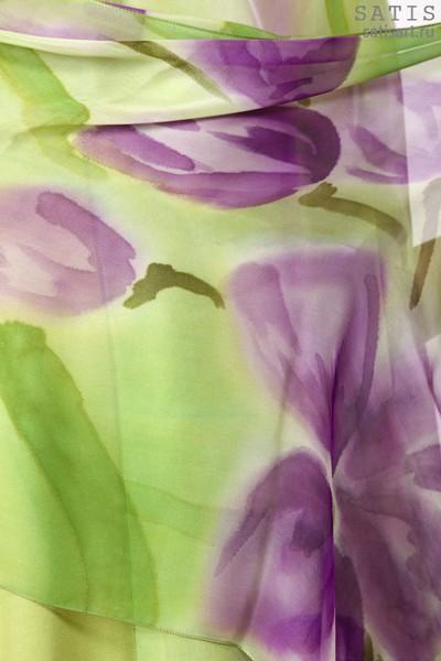 Палантин из натурального шелка «Лиловые тюльпаны» (батик, ручная роспись)