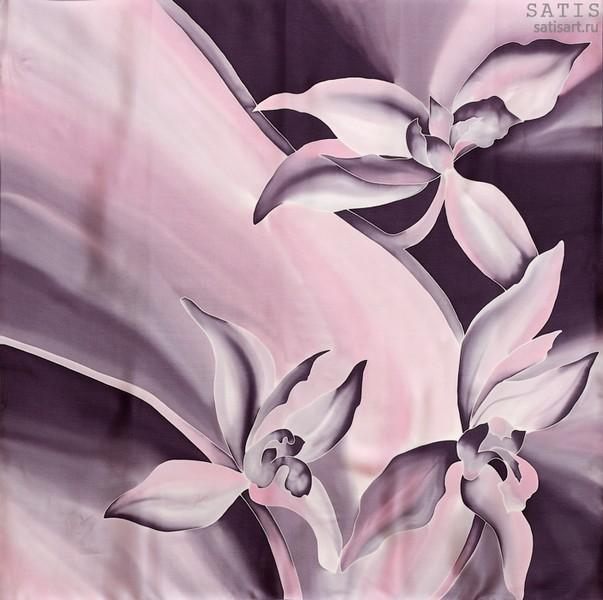 Платок из натурального шелка «Лиловые орхидеи» (батик, ручная роспись)