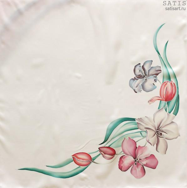 Платок из натурального шелка «Весеннее настроение» (батик, ручная роспись)