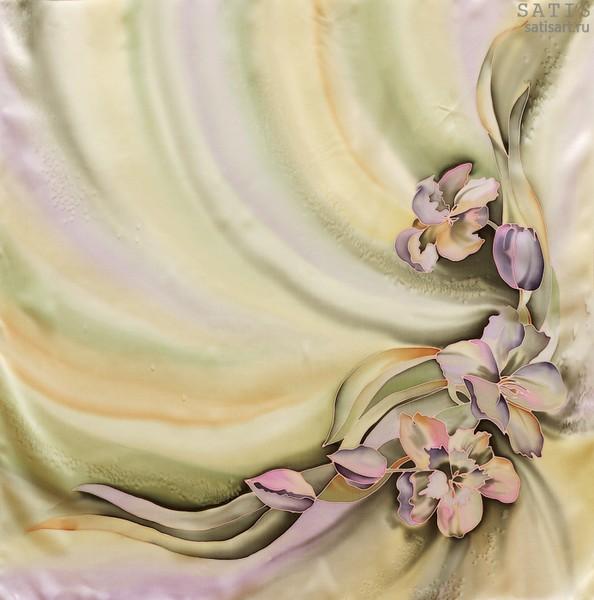 Платок из натурального шелка «Романтическое лето» (батик, ручная роспись)
