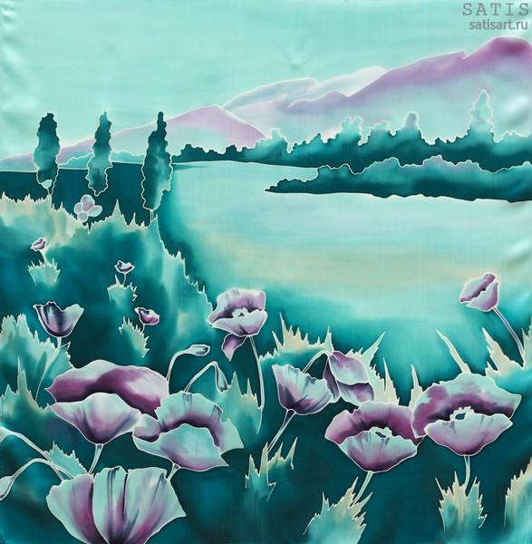 Платок из натурального шелка «Изумрудный рассвет» (батик, ручная роспись)