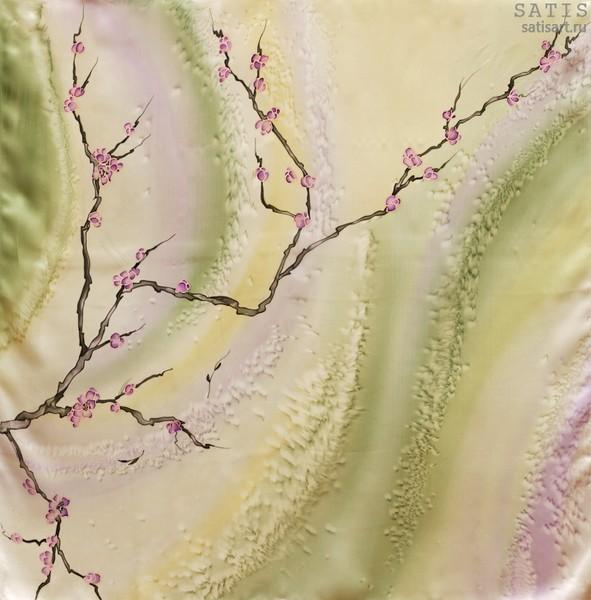 Платок из натурального шелка «Ветка сакуры» (батик, ручная роспись)