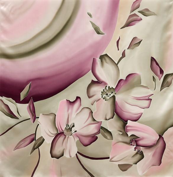 Платок из натурального шелка «Мерилин» (батик, ручная роспись)