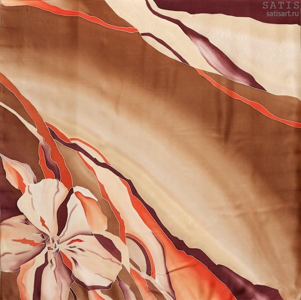 Платок из натурального шелка «Айриш крим» (батик, ручная роспись)