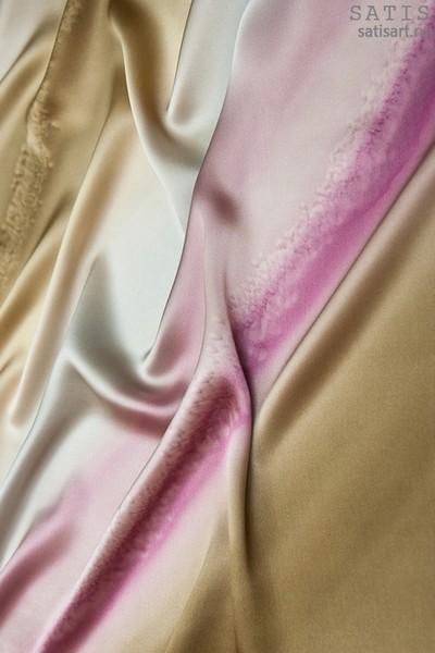 Платок из натурального шелка «Светлый шоколад» (батик, ручная роспись)