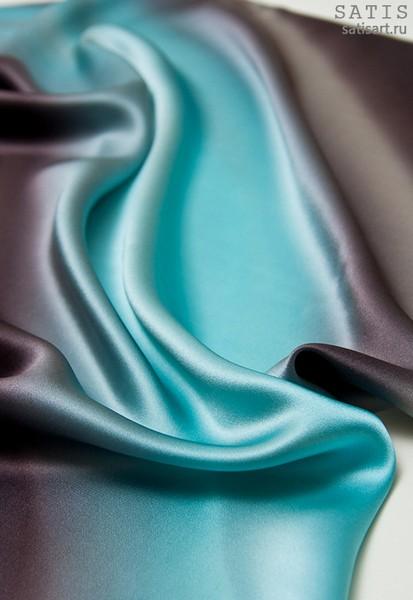 Платок из натурального шелка «Шоколадная мята» (батик, ручная роспись)