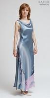 Платье из натурального шелка «Цветущая сакура» (батик, ручная роспись)