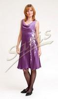 Платье из натурального шелка «Лиловый букет» (батик, ручная роспись)