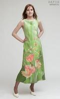 Эксклюзивное платье батик «Маки» (шелк, ручная работа)