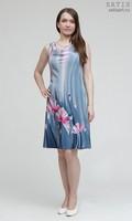 Эксклюзивное платье батик «Розовые маки» (шелк, ручная работа)