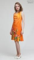 Эксклюзивное платье батик «Оранжевое настроение» (шелк, ручная работа)