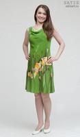 Платье батик «Желтые маки» на заказ (шелк, ручная роспись)