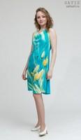 Платье батик «Солнечные маки» на заказ (шелк, ручная роспись)
