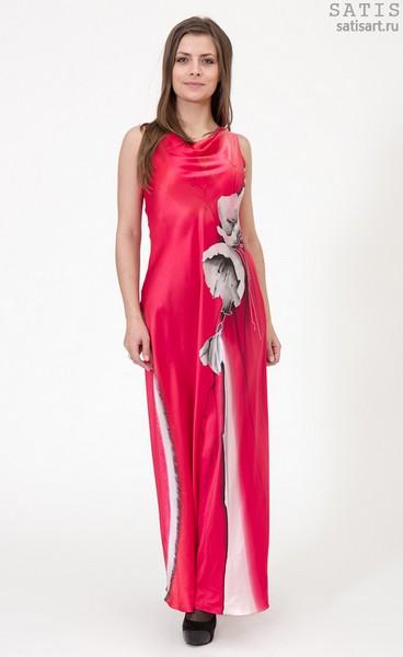 Платье из натурального шелка «Корсика» (батик, ручная роспись)