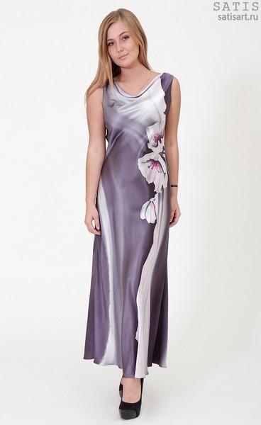 Платье из натурального шелка «Верона» (батик, ручная роспись)