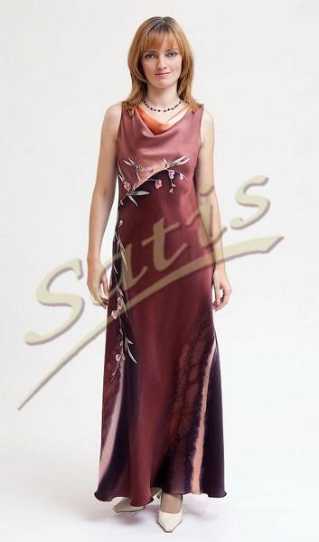 Платье из натурального шелка «Дерево какао» (батик, ручная роспись)