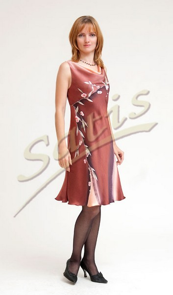 Платье из натурального шелка «Молочный шоколад» (батик, ручная роспись)
