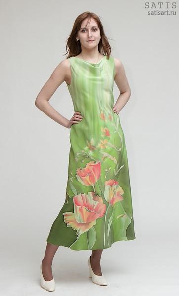 Платье из натурального шелка «Маки» (батик, ручная роспись)