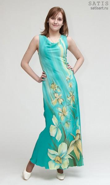 Платье из натурального шелка «Нарциссы» (батик, ручная роспись)