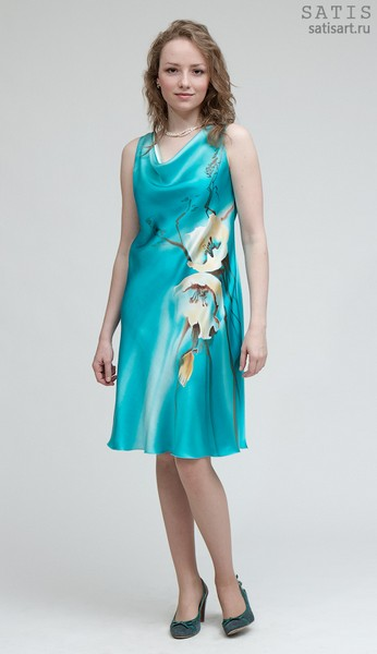 Платье из натурального шелка «Элегия» (батик, ручная роспись)