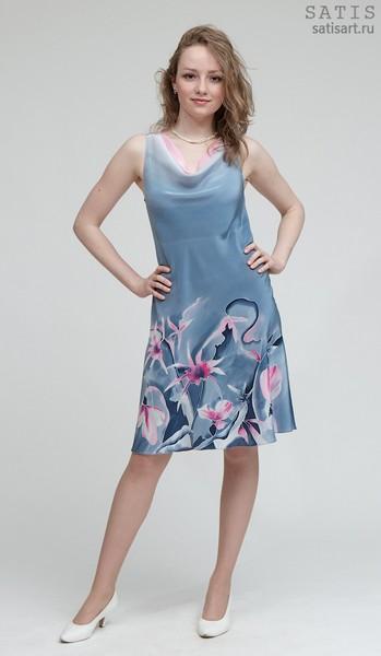 Платье из натурального шелка «Эдельвейсы» (батик, ручная роспись)