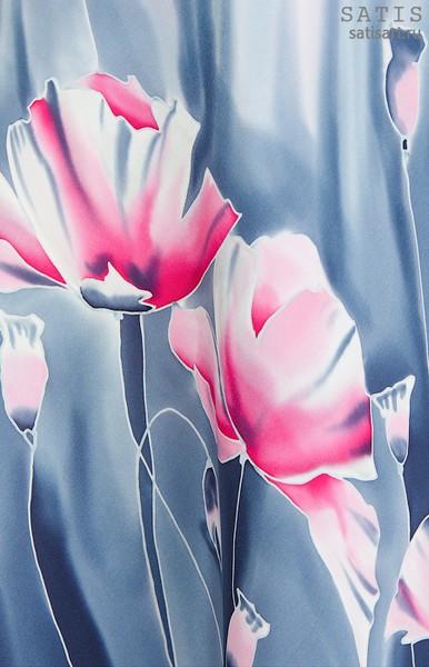 Платье из натурального шелка «Розовые маки» (батик, ручная роспись)