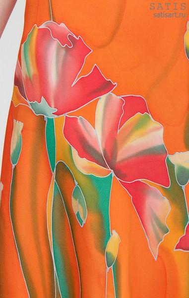 Платье из натурального шелка «Оранжевое настроение» (батик, ручная роспись)