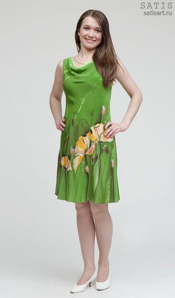 Платье из натурального шелка «Желтые маки» (батик, ручная роспись)