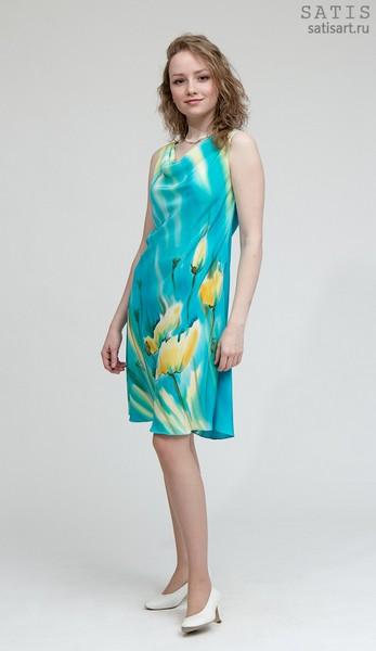 Платье из натурального шелка «Солнечные маки» (батик, ручная роспись)