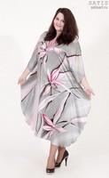 Эксклюзивная туника батик «Серебряные орхидеи» (шелк, ручная работа)