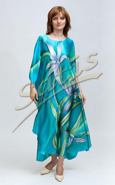 Туника из натурального шелка «Весенние орхидеи» (батик, ручная роспись)