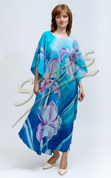 Туника из натурального шелка «Небесные ирисы» (батик, ручная роспись)