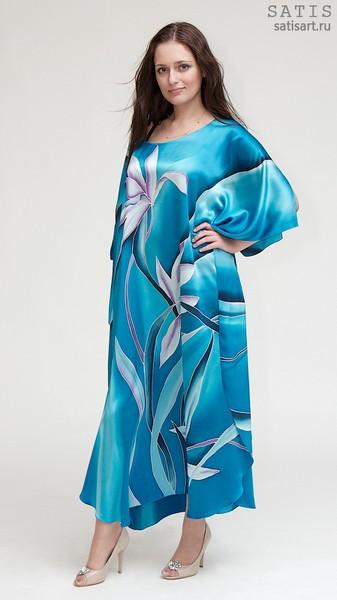 Туника из натурального шелка «Сиреневые орхидеи» (батик, ручная роспись)