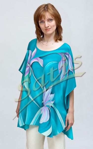 Туника из натурального шелка «Орхидеи» (батик, ручная роспись)