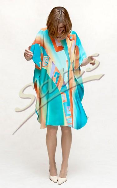 Туника из натурального шелка «Ацтека» (батик, ручная роспись)