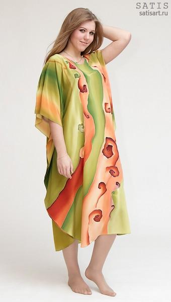 Туника из натурального шелка «Оранжевые волны» (батик, ручная роспись)