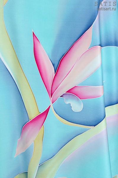 Туника из натурального шелка «Орхидеи розовые» (батик, ручная роспись)