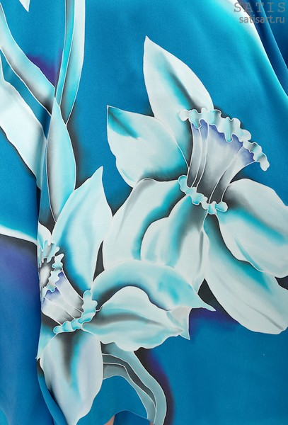 Туника из натурального шелка «Голубое сияние» (батик, ручная роспись)