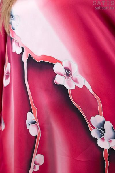 Эксклюзивная туника батик «Весенняя сакура» (шелк, ручная работа)