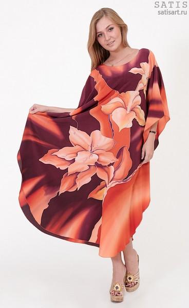 Туника из натурального шелка «Карибские лилии» (батик, ручная роспись)
