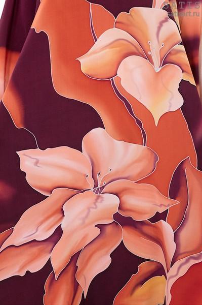 Эксклюзивная туника батик «Карибские лилии» (шелк, ручная работа)