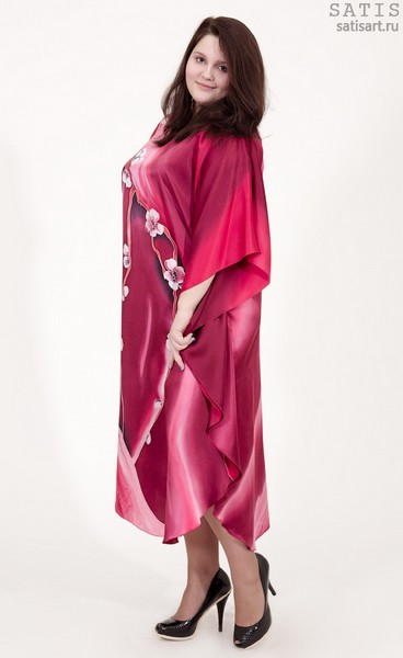 Эксклюзивная туника батик «Цветущая сакура» (шелк, ручная работа)