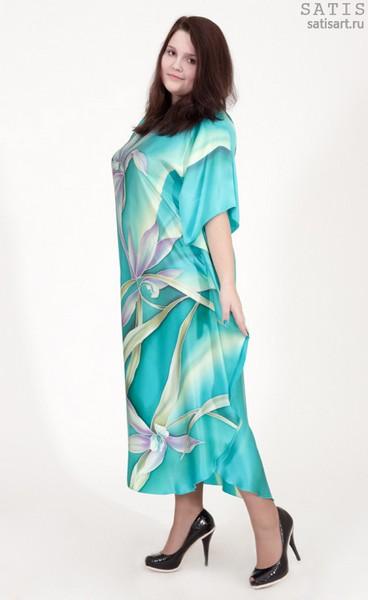 Туника из натурального шелка «Бирюзовые орхидеи» (батик, ручная роспись)