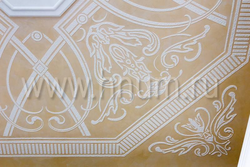 Декоративные трафаретные штукатурки на потолочных плафонах в квартире - художественная мастерская БМ ХНУМ
