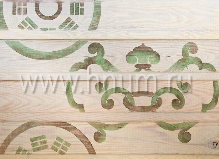 Декоративная трафаретная роспись потолка в японском стиле в гостевом домике - на заказ - художественная мастерская ХНУМ