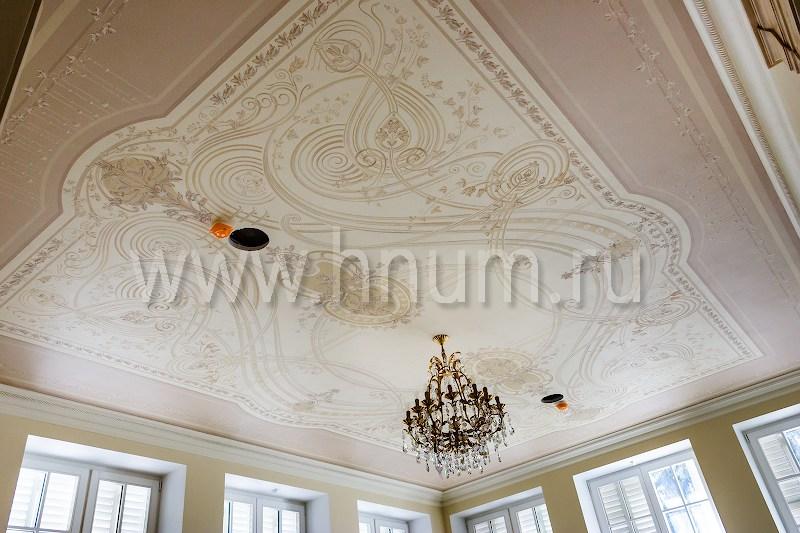 Художественная роспись потолка в парадной столовой загородного дома - на заказ - художественная мастерская ХНУМ