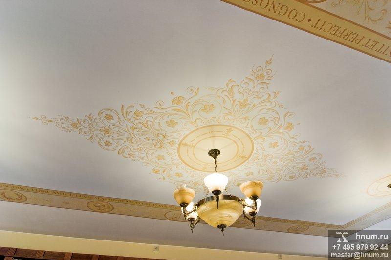 Художественная роспись потолков в загородном доме - выполнение на заказ - художественная мастерская БМ ХНУМ